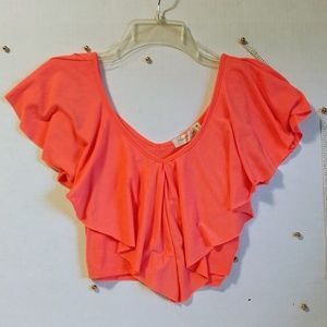 Charlotte Russe Neon Pink/Orange Flounce Crop Top